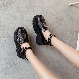 2020 spring Korean version of the new tassel retro fashion wild sponge cake thick sole shoes NHHU182144's discount tags