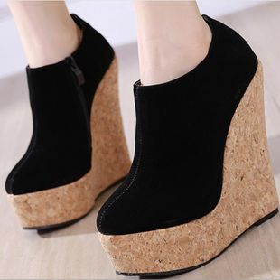 2020 Women's Shoes Simple Wedge Platform Bare Boots Black Suede NHSO182118's discount tags