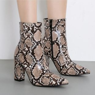 Fashion Snakeskin Sexy Thick High Heel Pointed Booties NHSO182117's discount tags
