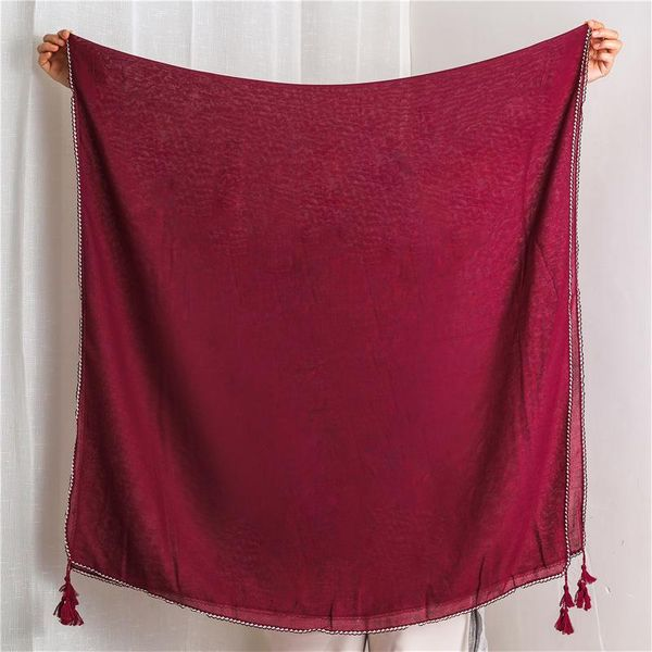 Solid color cotton and linen scarf ladies lace large banded scarf shawl dual-use NHGD182163