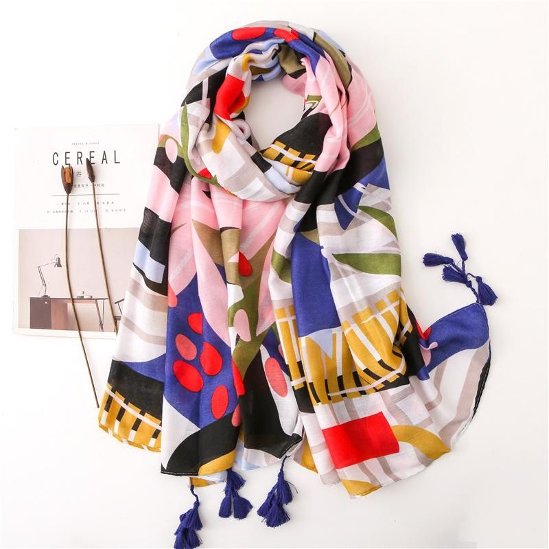 Scarf women spring and autumn cotton and linen feel colorful tropical plants long wild shawl NHGD182196