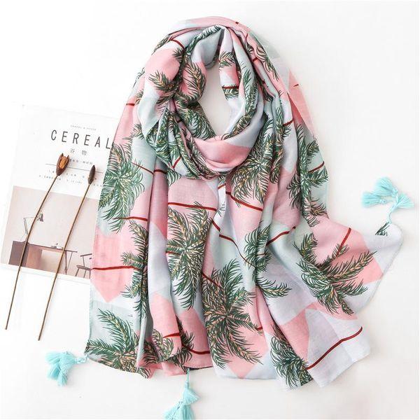 Tropical leaf print cotton and linen fringe scarf NHGD182197