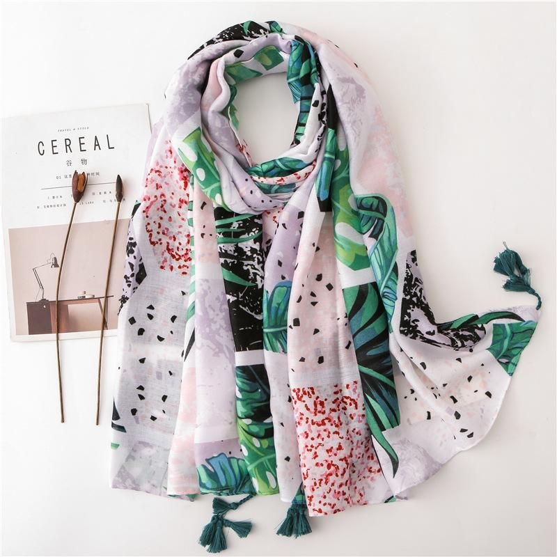 Diamond-shaped tropical green leaf print shawl wholesales fashion  NHGD182210