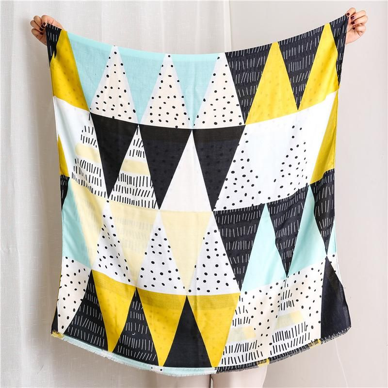 Cotton and linen scarf women autumn and winter yellow triangle graffiti long scarf shawl dual-use NHGD182216