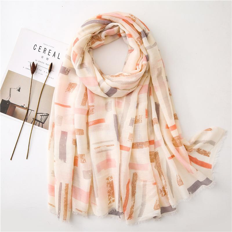 Spring and autumn new beige geometric ethnic cotton and linen scarf NHGD182221
