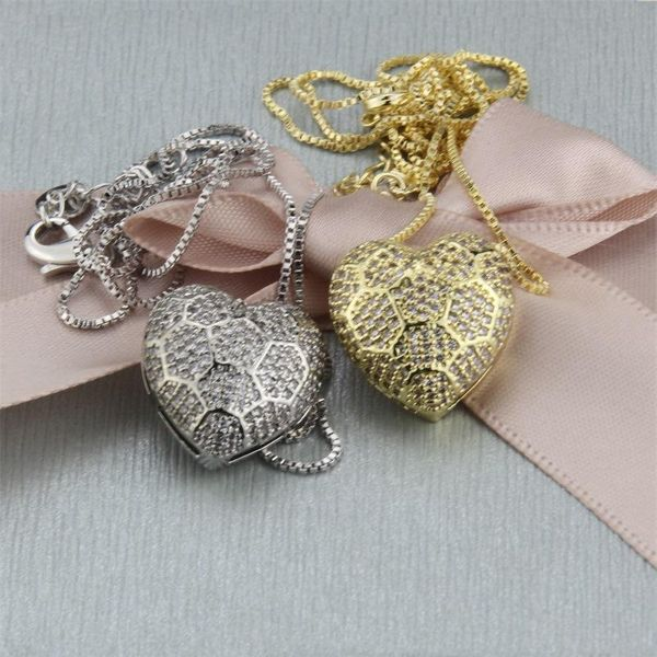 Hot selling multi-faceted zirconium heart pendant fashion new brass gold plated platinum plated necklace wholesale NHBP182439