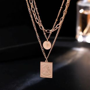 Multi-layer titanium steel short paragraph chain female clavicle chain necklace fashion accessories NHIM182300's discount tags