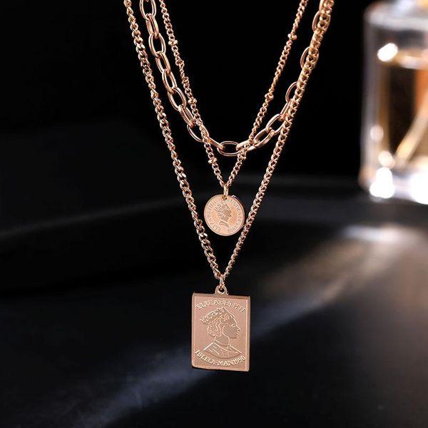 Multi-layer titanium steel short paragraph chain female clavicle chain necklace fashion accessories NHIM182300