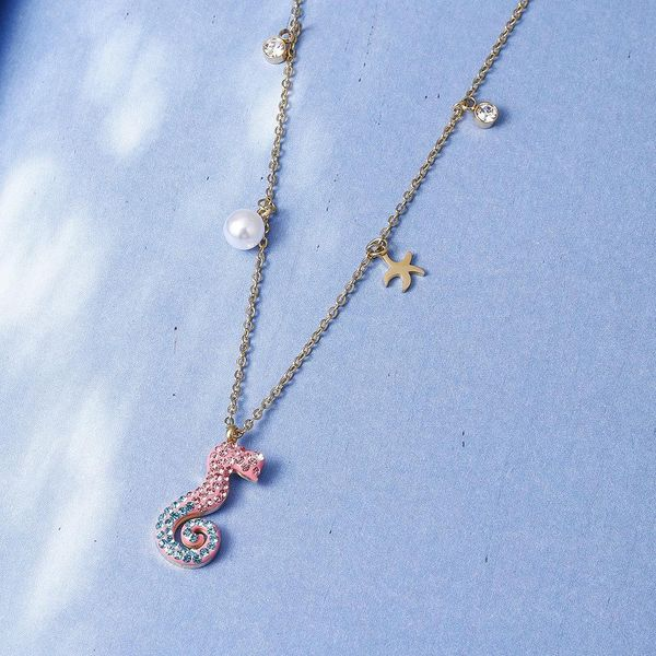 Girl's necklace does not fade hippocampus clavicle chain fashion necklace wholesale NHIM182301