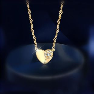Heart necklace female simple student Mori love short clavicle chain NHIM182308's discount tags