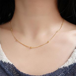 18K Gold Snake Bone Chain Clip Gold Bead Clavicle Chain Necklace Women Short NHIM182310's discount tags