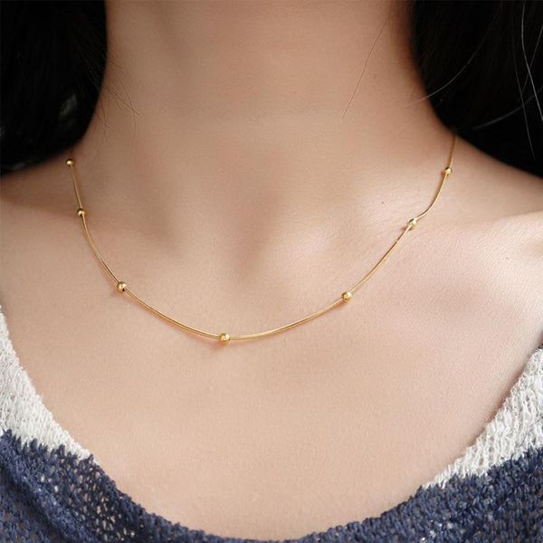 18K Gold Snake Bone Chain Clip Gold Bead Clavicle Chain Necklace Women Short NHIM182310