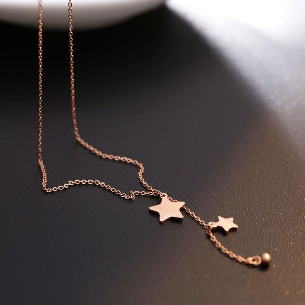 Pentagram Long Tassel Titanium Steel Necklace Hypoallergenic Rose Gold Clavicle Chain Trend Fine Chain NHIM182316