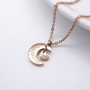 English Love Moon Short Female Pendant Wild Rose Gold Clavicle Chain Titanium Steel Necklace NHIM182322's discount tags