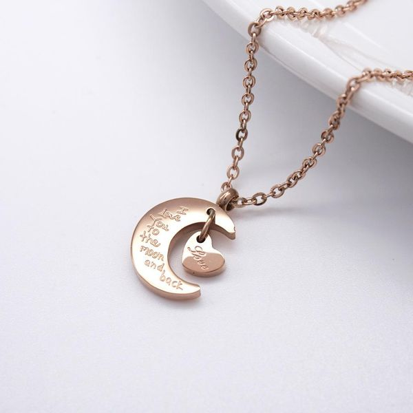 English Love Moon Short Female Pendant Wild Rose Gold Clavicle Chain Titanium Steel Necklace NHIM182322