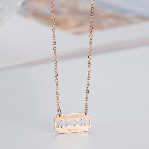 Necklace Korean rose gold Eternal love clavicle chain holiday gift NHIM182323
