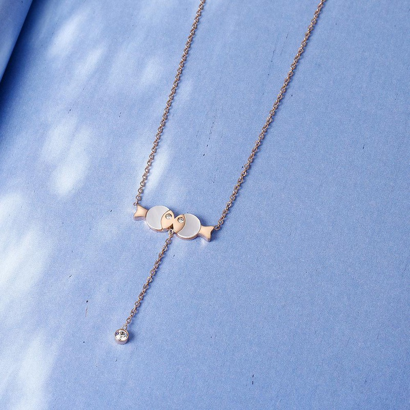 14K Rose Gold Exquisite Cute Fish Pendant Clavicle Chain Short Non-Fade Necklace NHIM182324