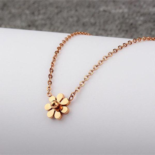 Small Daisy 18K Rose Gold Clavicle Chain Color Gold Titanium Steel Titanium Simple Mini Chrysanthemum Women's Short Necklace NHIM182326