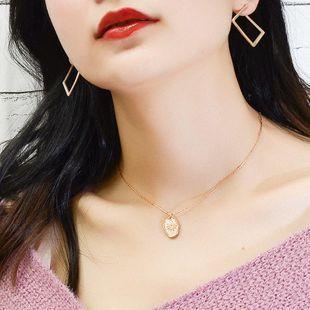 Hot Irregular Sun Oval Necklace Pendant Titanium Steel Necklace NHOK182456's discount tags