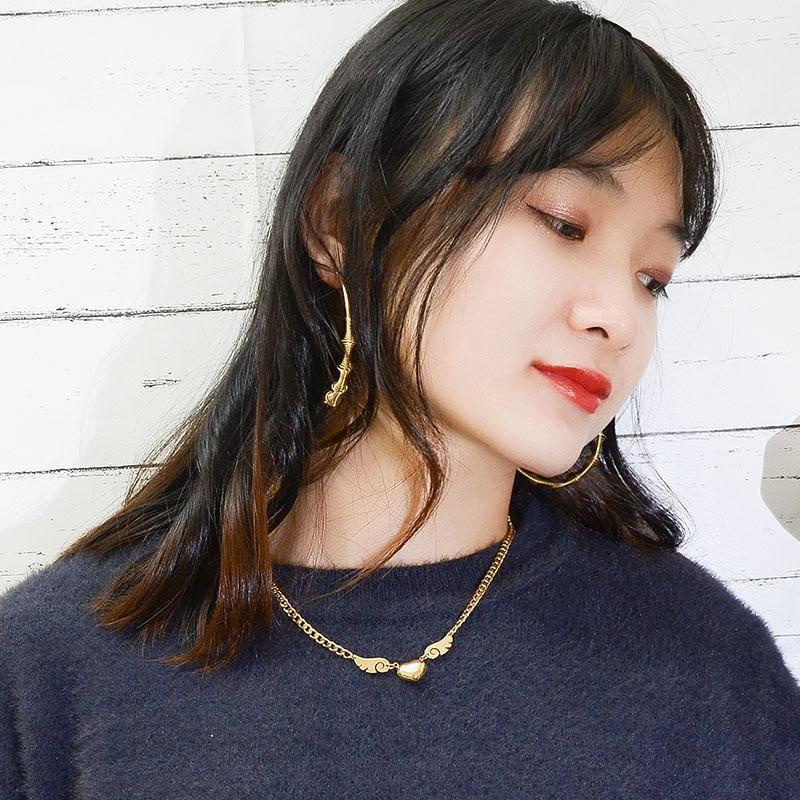 Fashion Titanium Steel Angel Wings Necklace Women Short Sweater Chain Clavicle Pendant NHOK182465