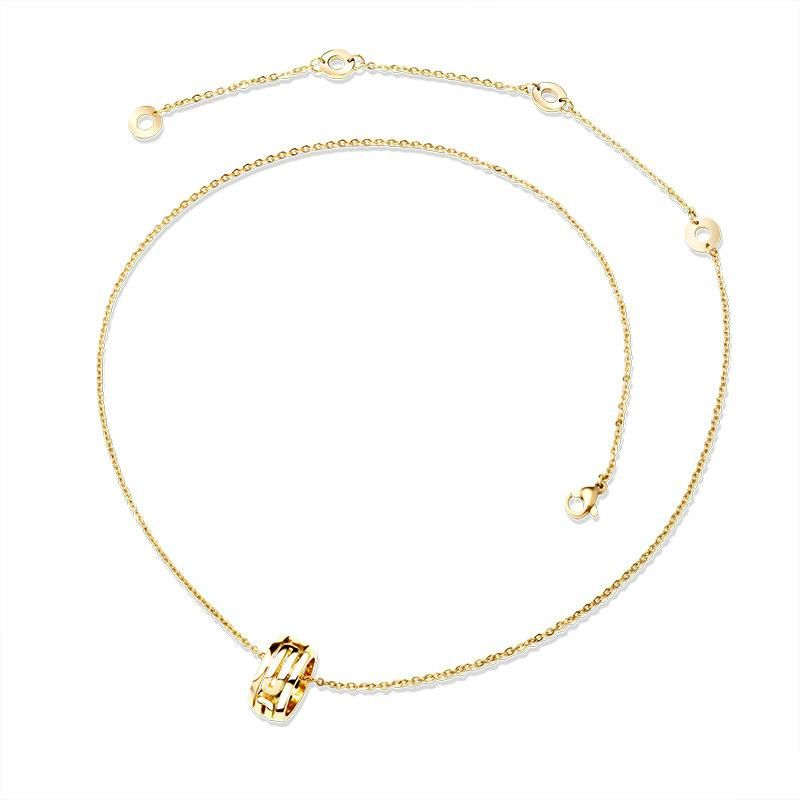Titanium steel rose gold B-shaped fashion clavicle necklace color-plated gold 18K gold non-fading non-allergy necklace NHOK182468
