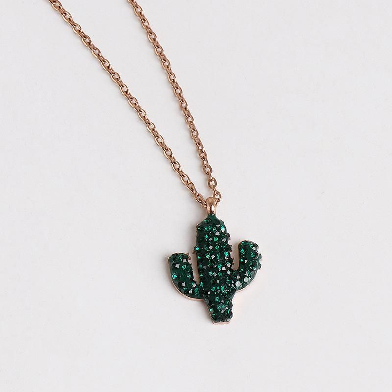Heart Cactus Micro Set Zircon Pendant Women39s Elegant Pendant Necklace NHJJ182245