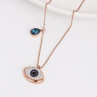 Devil's Eye Necklace Color Separation Blue Diamond Eye Necklace Female Micro-Set Pendant Clavicle Chain NHJJ182248's discount tags
