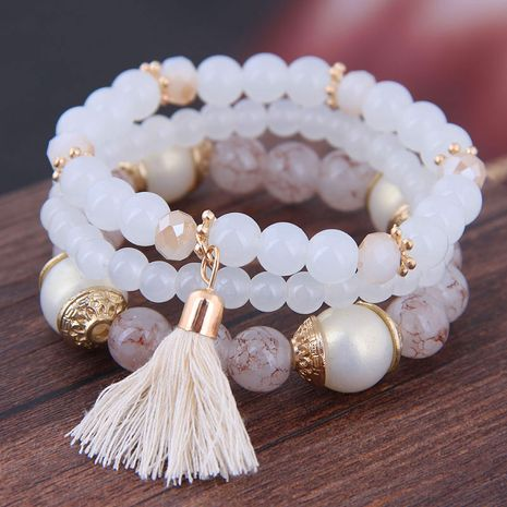 Simple wild acrylic beads multi-layer fringed temperament fashion female bracelet NHSC181206's discount tags
