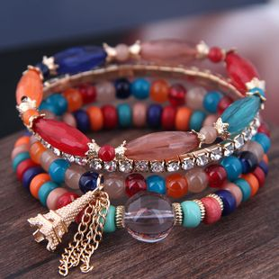 Simple wild colorful acrylic beads pearl tower fringed multilayer fashion temperament bracelet NHSC181208's discount tags