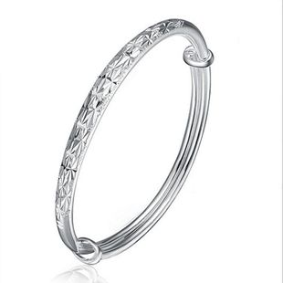 Sterling silver imitation star push bangle frosted car flower fashion female bracelet NHQL182484's discount tags