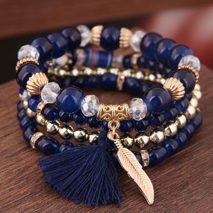 Simple and colorful acrylic beads fringed leaf pendant multilayer fashion bracelet NHSC181207's discount tags