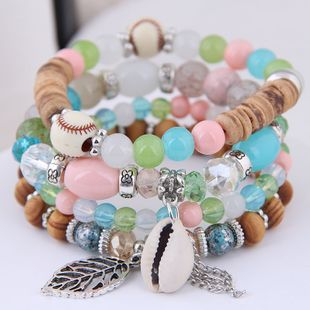 Simple metal leaf conch tassel gorgeous pearl multi-layer female bracelet NHSC181213's discount tags
