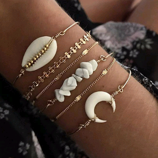 Crushed Stone Shell Six-Piece Set Multi-Layer Personality Bracelet NHSC181214's discount tags