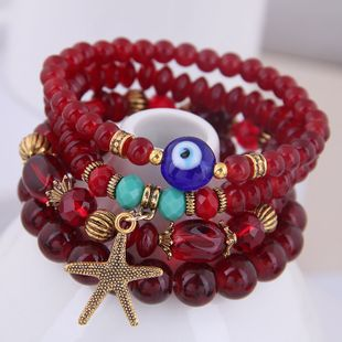 Bohemian mix and match metal starfish Devil's Eye accessory multi-layer bracelet NHSC181216's discount tags