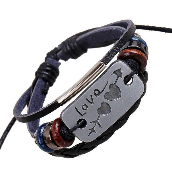 Antique silver alloy leather beaded bracelet fashion bracelet wholesale NHPK182362