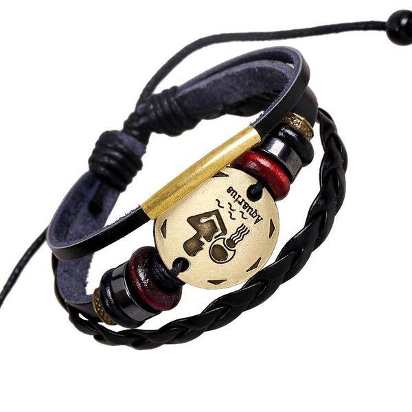 Hand-knitted beaded constellation bracelet new Aquarius leather bracelet punk leather bracelet NHPK182363