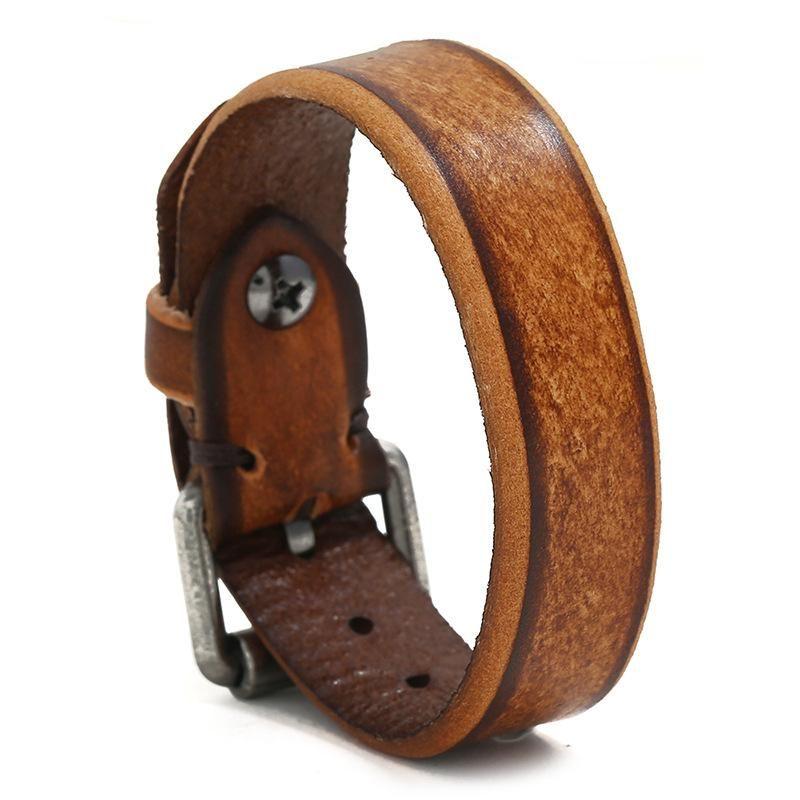 New retro distressed leather bracelet simple men's jewelry gift leather bracelet NHPK182389
