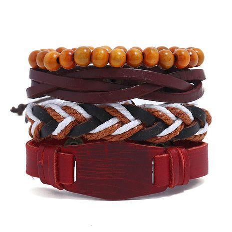 New vintage woven 4-piece leather bracelet men's accessories leather bracelet NHPK182390's discount tags