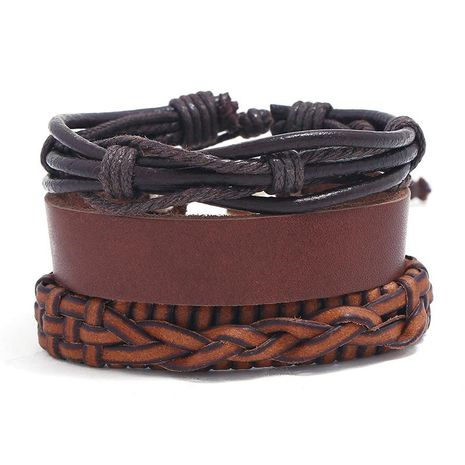 New three-piece real leather bracelet simple diy suit men's knitted bracelet jewelry wholesale NHPK182398's discount tags