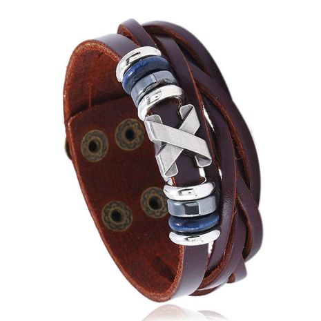 Men's Bracelet Alloy Wide Leather Genuine Leather Jewelry Simple Fashion Jewellery NHPK182399's discount tags