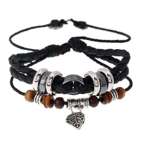 Fashion Multi-layer Woven Leaf Pendant Men's Leather Bracelet NHPK182403's discount tags