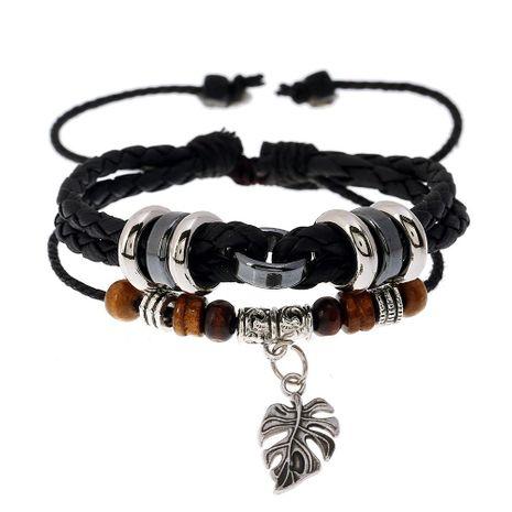 Fashionable leather multi-layer woven leaf pendant men's bracelet explosion models wholesale NHPK182404's discount tags