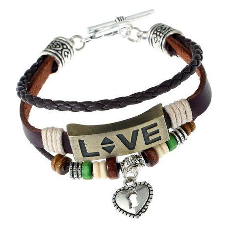 Handmade beaded leather bracelet alloy couple LOVE leather bracelet jewelry NHPK182405's discount tags