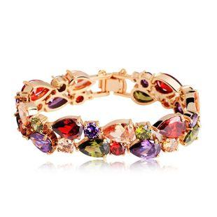 Zircon bracelet AAA zircon environmental protection real gold plating women's bracelet wholesale NHTM182410's discount tags