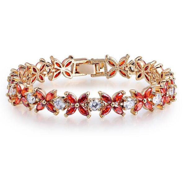 Clover lucky bracelet AAA zircon inlaid with colored zircon bracelet women's bracelet wholesale NHTM182417