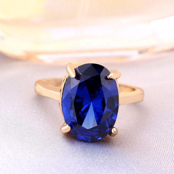 Blue oval zircon ring white gold diamond fashion women crystal jewelry wholesale NHIM182276