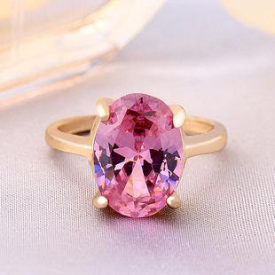 Pink Oval Zircon Ring Platinum Diamond Fashion Women Crystal Jewelry Wholesale NHIM182290's discount tags