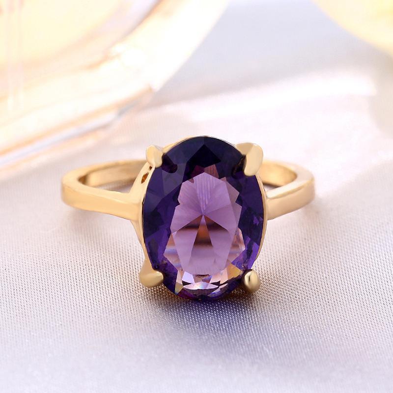 Purple Oval Zircon Ring White Gold Diamond Fashion Women Crystal Jewelry Wholesale NHIM182291