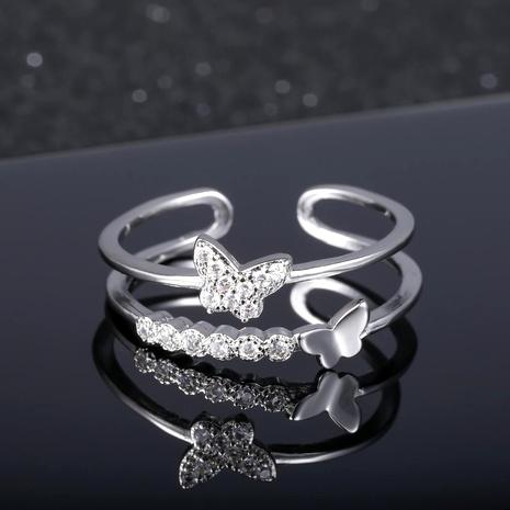 Bague double papillon femme pop or rose diamant ouvert bague réglable NHIM182330's discount tags