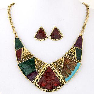 Metal geometric shape contrast color temperament necklace earrings set NHSC181231's discount tags